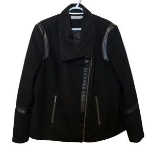Ricki's Black Zip Up Peacoat with Leather & Zipper Accents